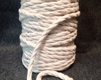 10mm x 60m Twisted Cotton Cord / Macrame  Cord / Cotton Rope - Natural Ecru