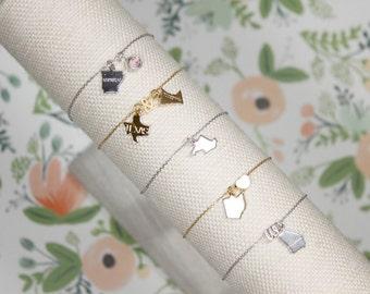Long Distance State Bracelet | Best Friends Bracelet | Lovers | Friendship | Going Away Present | Graduation Gift | Mothers Day Gift