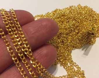 10m  Link Curb Chain Gold Plated 3x2mm - CHN59