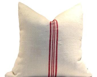 Vintage European Linen Grain Sack Pillow Cover  4 Red Stripes