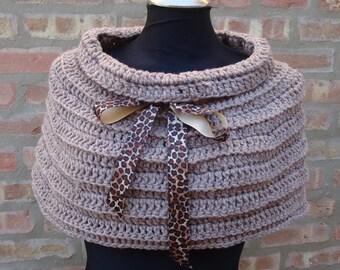 Beige Shoulderette / Cowl Crocheted