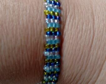 Blue striped brick stitch beaded bracelet