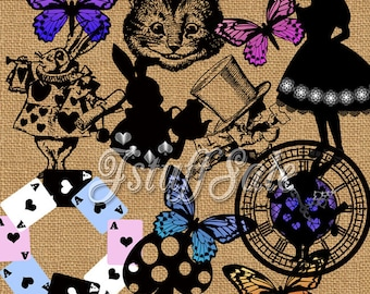 12 Alice in Wonderland theme digital clipart - transparent background png files (Si02)