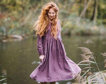 Vintage Dress, Linen Dress, Lilac Dress, Romantic Dress, Smock Dress, Violet Dress, Long Sleeved Dress, Women Dress / Lilac Smock LS