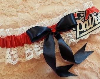 New England Patriots Football Inspired Wedding Bridal Garter Belt Toss or Set w/ White Lace