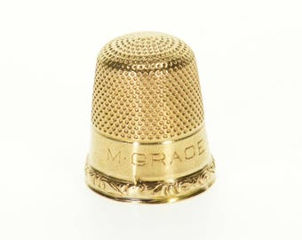 14k Ornate Textured Thimble Sewing  Gold