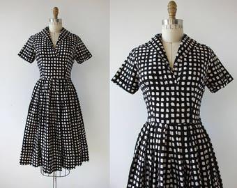 1950s vintage dress / 50s windowpane check dress / 50s black & white cotton day dress / 50s pleated skirt dress / full skirt / s