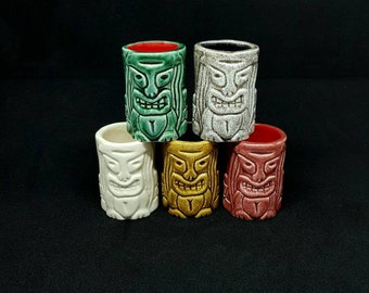 5 Handmade tiki shots for bar's and personal use by j.d.art.Gift under the 30 euros for him and her.