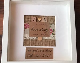 Personalised wedding gift quote frame with scrabble letters