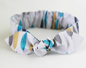 FEATHER Organic Headband -  headband fabric headband  blue headband newborn baby girl headwrap toddler headband baby knot headband bow