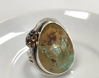 Beautiful Turquoise & Sterling Silver Statement Ring, Size 7.5-7.75