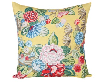 Bouquet Chinois Yellow designer pillow covers - Made to Order - Schumacher