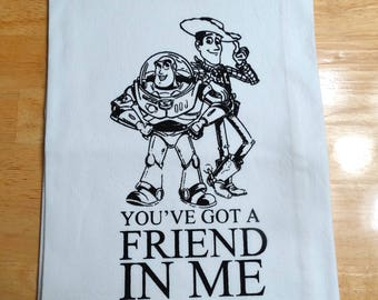 "Disney Toy Story ""You've got a friend in me"" screen printed cotton flour sack kitchen tea towel generous 30 x 30"" white towel/ black ink"
