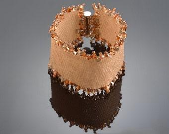 Bracelet Beadwork Bracelet Peyote Bracelet with  Swarovsky crystals  Beige Brown Bracelet