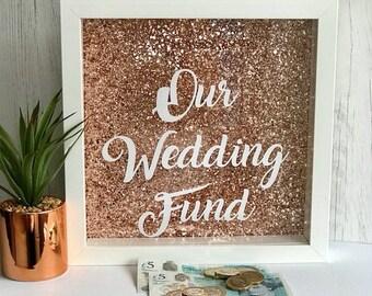 rose gold money box, wedding saving frame, wedding fund money box, our wedding fund, wedding saving jar, wedding piggy bank, money box,