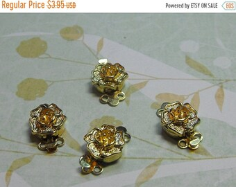 Mothers Day Sale Four Pack Gorgeous Gold Plated Flower Shaped 2 Strand 13mm Dimensional Clasps Jewelry Making Supplies
