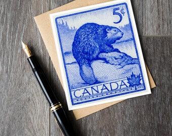 Canadian beaver birthday card, Canada beaver retirement cards, cute beaver congratulations card, unique beaver greeting cards, Canadiana