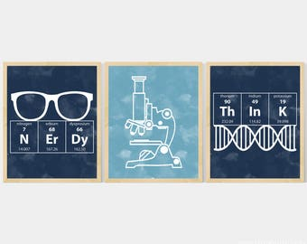Nerdy Science Art  -  set of 3- 8x10 Instant Download Printables with Microscope, DNA, Elements for science themed bedroom or nursery