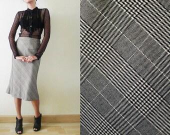 Vintage 80s black and white PLAID high waist skirt, a-line skirt, formal midi skirt, tartan, gingham, Check,square, graphic,minimalist, XS-S