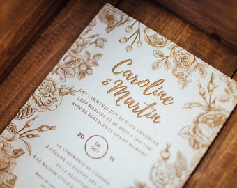 Wood wedding invite Etsy