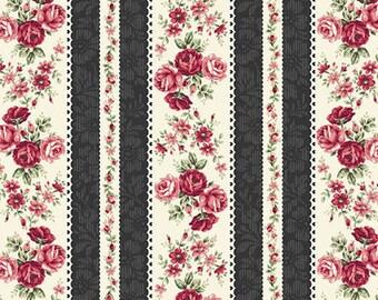 RURU Bouquet Rose For You  Cotton Fabric Quilt Gate RU2220-14E Rose Stripes Black Cream