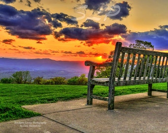 Shenandoah Valley, Sunset, Park Bench, Mountains, Pastels, Virginia