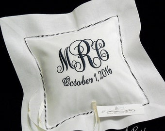 Ring Bearer Pillow, Monogram Ring Bearer Pillow, Wedding Ring Cushion, Custom Pillow, White Bridal Pillow, jfyBride, Style 5215