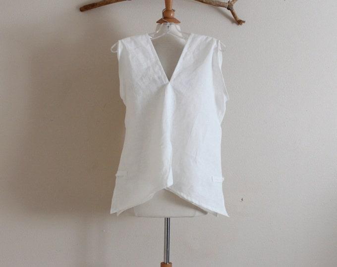 custom sparrow hanky weight linen top with side slits / summer linen top / sleeveless linen top / custom linen for all sizes / plus size