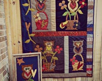 Primitive Quilt PATTERN - Owl Baskets - MQ 703