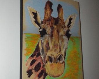Happy Giraffe - print on canvas