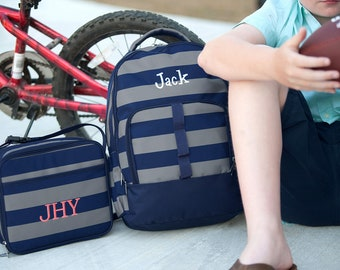 Monogrammed Grayson Lunch Box / Personalized Navy Gray Stripe Lunchbox / Monogrammed Blue Gray Lunch Tote / Boys Navy Gray Stripe  Lunchbox