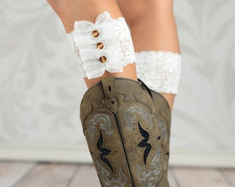 Three Buttoned White Lace Boot Toppers