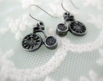 Whimsical old style bicycle earrings