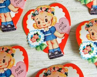 Vintage Valentine Die Cut Seals | Valentine Heart Labels | Valentine's Day For You Seals