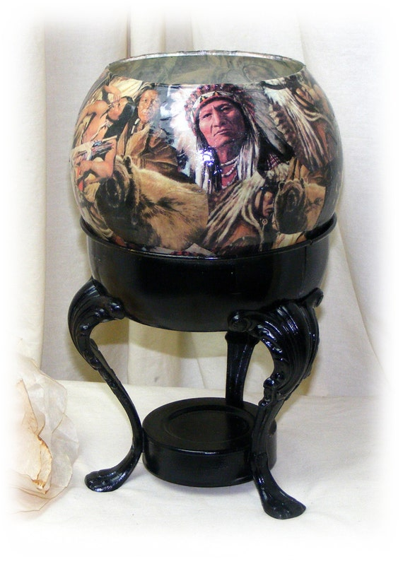 AMERICAN INDIAN MOTIF . . Decoupaged Glass Bowl & Metal Stand . . One Of A Kind