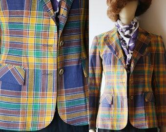 80s Plaid Blazer Vintage Plaid Blazer Vivid Prints Cotton Blazer S M