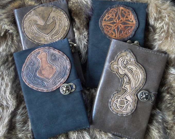 Celtic Leather Journals, Tooled Carved - Refillable, Hardback Journal Included - Choose Your Color & Design