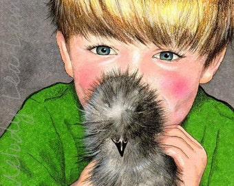 Boy and His Chicken Illustration Art Giclee Print By Melody Lea Lamb