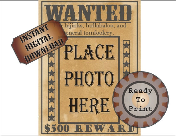 old west wanted poster printable blank photo space cowboy