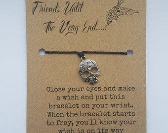 Skull charm bracelet, party favour, wish bracelet, friends forever, charm bracelet, make a wish, wishing bracelet, best friend wish bracelet