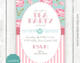 Shabby Chic Tea Party Birthday Invitation ANY AGE - Party Packages Available