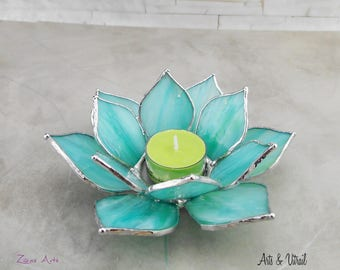 Aqua Lotus Flower, Candle Holder Stained Glass Flower, Candlestick,  Centerpiece, Zen Accessory, Zen Design, Unscented tealights