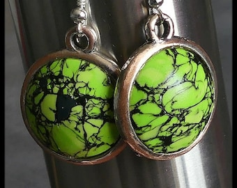Earrings polymer medallions lime Spring Green