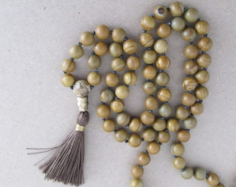 Mala - Hand knotted 8mm tigerskin jasper 108 beads buddhist mala - meditation necklace or wrap bracelet