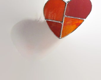 Heart Red Stained Glass Sun Catcher