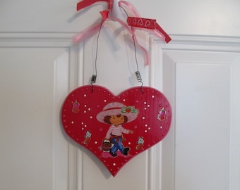 Strawberry Shortcake Plaque-Wall Hanging-Birthday Gift-Girls Room Decor-Wall Decor-Gifts for Her-Gifts for Girls-Kids Room Decor