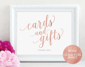 Rose Gold Cards and Gifts Sign, Cards & Gifts Printable, Table Sign, Wedding Printable, Printable Wedding Sign, PDF Instant Download, MM01-7