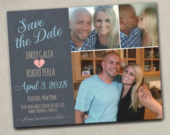 Wedding Save The Dates Photo 2 photo 3 Photo Magnets Postcards Cards Chalkboard Navy Mint Blue Grey pink purple Coral Burgundy Gold Green