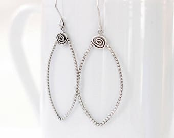 Petal Sterling Silver Earrings, Modern Hoop Earrings, Leaf shape dangle