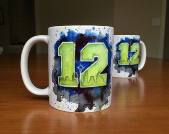 12th Man Mug, Seattle 12th Man Seahawks Ceramic Mug, Coffee Mug, Space Needle Watercolor, Coworker Gift, Seattle Mug, Seattle Art Gift